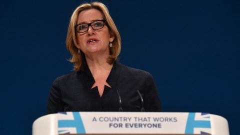 British Home Secretary Amber Rudd delivers a keynote address on the third day of the annual Conservative Party conference at the International Convention Centre in Birmingham, central England, on October 4, 2016.  British Prime Minister Theresa May announced at the weekend that her Conservative government would start the process of leaving the EU within the next six months -- possibly leading to Britain severing ties with the single market. / AFP PHOTO / BEN STANSALL