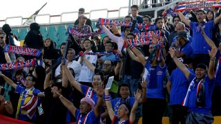 Thai fans cheer on their national team during the 2018 World Cup qualifying football match between Thailand and Iraq at the Shahid Dastgerdi Stadium in the Iranian capital, Tehran, on October 11, 2016. / AFP PHOTO / STRINGER