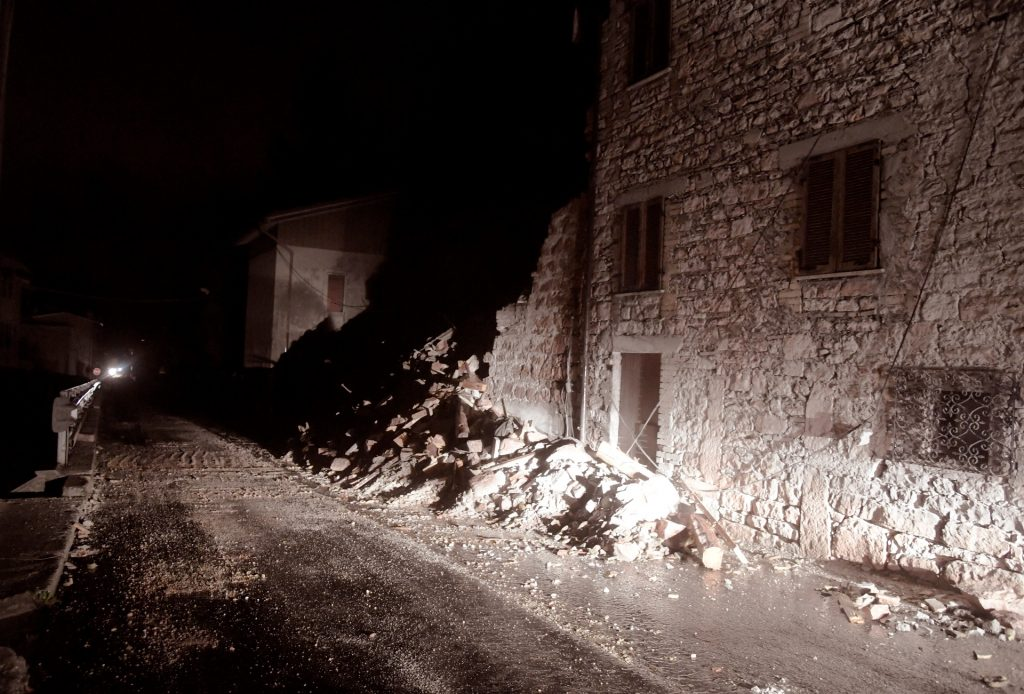 A picture shows rubbles in the village of Borgo Sant'Antonio near Visso, central Italy, after earthquakes on October 26, 2016. Twin earthquakes rocked central Italy on October 26, 2016 -- the second registering at a magnitude of 6.0 -- in the same region struck in August by a devastating tremor that killed nearly 300 people. The quakes were felt in the capital Rome, sending residents running out of their houses and into the streets. The second was felt as far away as Venice in the far north, and Naples, south of the capital. / AFP PHOTO / TIZIANA FABI