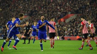 Chelsea's Brazilian-born Spanish striker Diego Costa (C) celebrates scoring their second goal during the English Premier League football match between Southampton and Chelsea at St Mary's Stadium in Southampton, southern England on October 30, 2016. / AFP PHOTO / GLYN KIRK / RESTRICTED TO EDITORIAL USE. No use with unauthorized audio, video, data, fixture lists, club/league logos or 'live' services. Online in-match use limited to 75 images, no video emulation. No use in betting, games or single club/league/player publications.  /