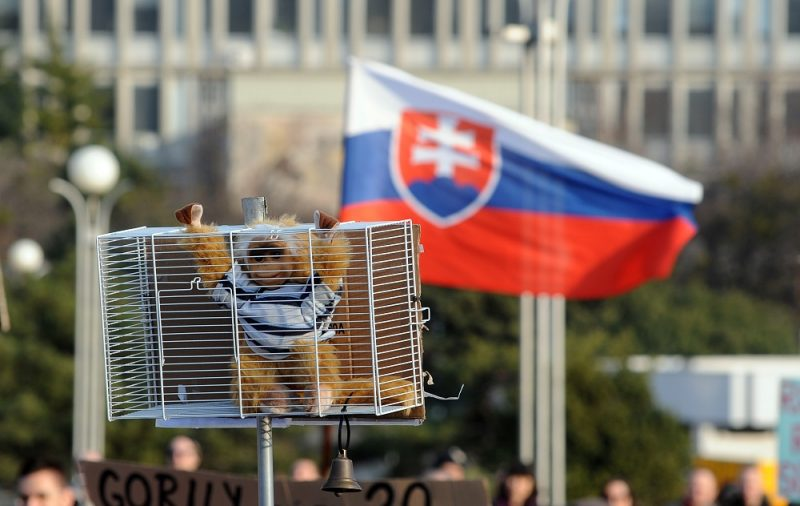 """A Gorilla soft toy is brandished in a cage during a rally at the Namestie Slobody Square in Bratislava, on March 9, 2012, ahead of the March 10 general elections, during anti-corruption demonstration against """"Gorilla"""" scandal. The SDKU-DS party of outgoing premier Iveta Radicova is reeling from the impact of the so-called """"Gorilla"""" scandal, sparked by secret service wiretaps of alleged meetings between top politicians and local financial group leaders leaked on the Internet in December 2011.    AFP PHOTO/ SAMUEL KUBANI / AFP PHOTO / SAMUEL KUBANI"""