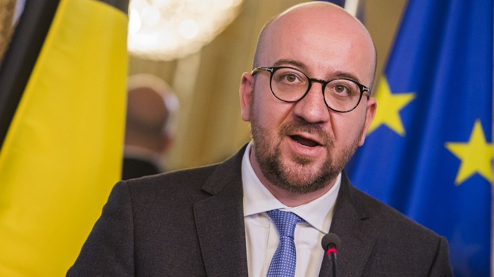 Belgian Prime Minister Charles Michel pictured during a press conference after a meeting of the consultative committee with ministers of the Federal government, the regional governments and the community governments, in Brussels, Monday 24 October 2016. This meeting with the different governments is called when matters involving multiple levels are discussed. Today they're discussing the CETA signature for this agreement between European Union and the Canada. BELGA PHOTO LAURIE DIEFFEMBACQ
