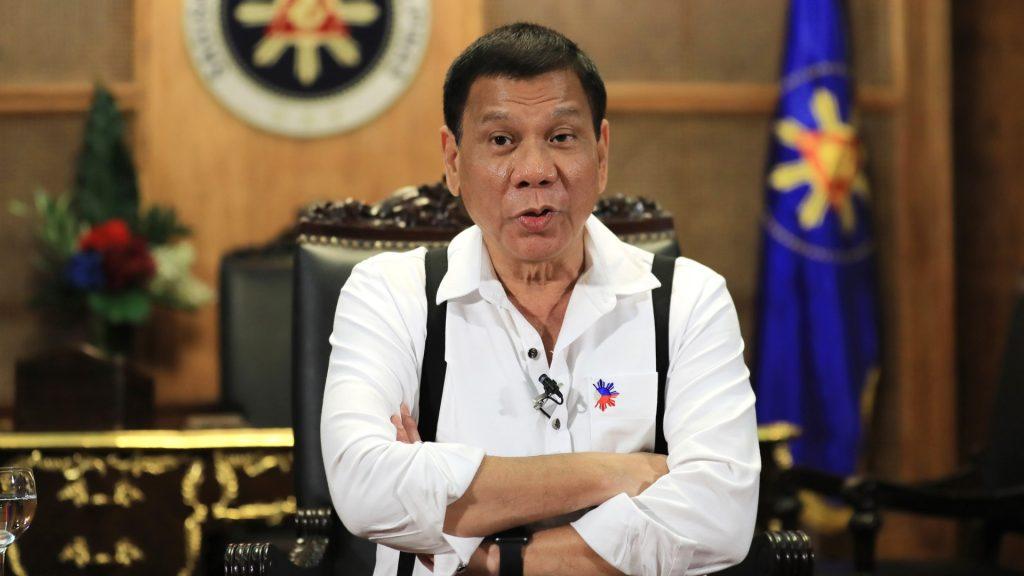 Philippine president Rodrigo Duterte speaks during an  interview  at the Malacanang Palace, Manila on Oct.24, 2016, one day before visiting Japan.  ( The Yomiuri Shimbun )