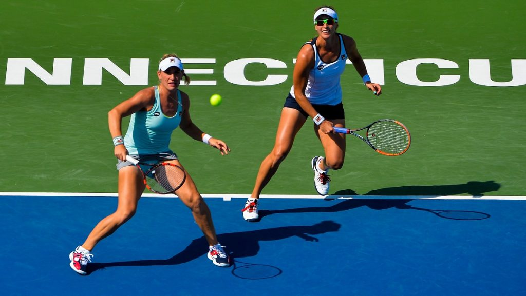 NEW HAVEN, CT - AUGUST 26: Timea Babos of Hungry and Yaroslava Shvedova of Kazakhstan compete against Kateryna Bondarenko of Ukraine and Chia-Jung Chuang of Taiwan on day 6 of the Connecticut Open at the Connecticut Tennis Center at Yale on August 26, 2016 in New Haven, Connecticut.   Alex Goodlett/Getty Images/AFP