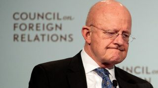 NEW YORK, NY - OCTOBER 25: James Clapper, U.S. Director of National Intelligence, pauses while speaking at the Council of Foreign Relations, October 25, 2016 in New York City. His discussion with moderator Charlie Rose focused on the lessons he's learned after serving as Director of National Intelligence for six years and the intelligence challenges the next U.S. president will face.   Drew Angerer/Getty Images/AFP