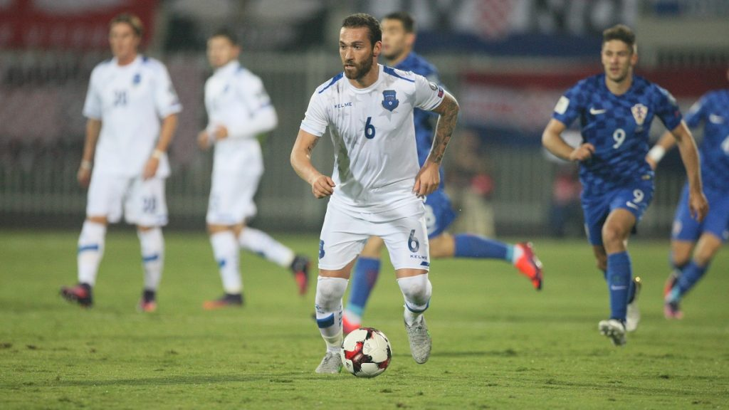 SHKODER, ALBANIA - OCTOBER 06: Kosovo's Avni Pepe (6) is in action during the World Cup 2018 qualifier football match between Kosovo and Croatia in Loro Borici stadium in Shkoder, Albania on October 06, 2016. Malton Dibra / Anadolu Agency