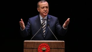 ANKARA, TURKEY - OCTOBER 27:  President of Turkey Recep Tayyip Erdogan delivers a speech during a ceremony for relatives of martyrs and veterans in Ankara,Turkey on October 27, 2016. Cem Ozdel / Anadolu Agency