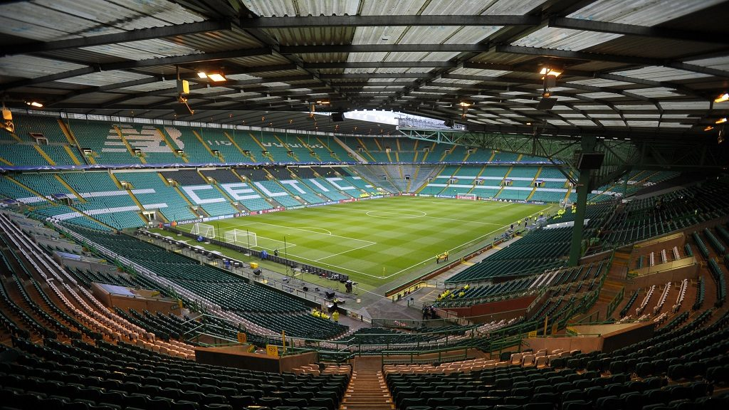 The pitch as Celtic Park stadium is pictured ahead of the UEFA Champions League Group C football match between Celtic and Borussia Monchengladbach, in Glasgow, Scotland on October 19, 2016. / AFP PHOTO / Andy Buchanan