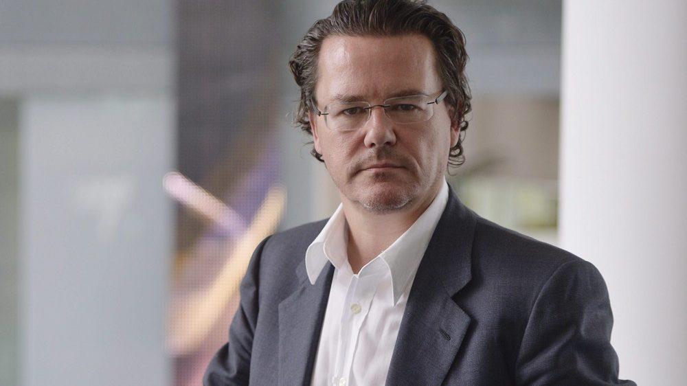 Budapest, 2014. április 15. Dirk Gerkens, az RTL Klub vezérigazgatója Telenor jövõkutató szimpóziumán a cég törökbálinti székházában 2014. április 15-én. MTI Fotó: Beliczay László