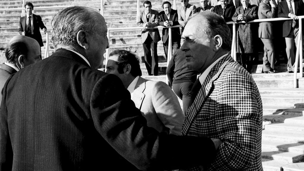 The Argentine soccer player of Real Madrid Alfredo Di Stefano and the President of Real Madrid Santiago Bernabeu on the 75th anniversary of the team, 1977 , Madrid, Castilla La Mancha, Spain. (Photo by Gianni Ferrari/Cover/Getty Images).