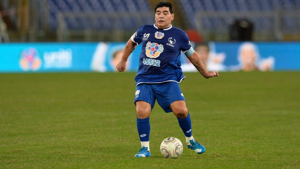 Diego Armando Maradona during the match for the peace - Uniti per la Pace at the Olympic Stadium in Rome, on october 12, 2016. (Photo by Silvia Lore/NurPhoto)