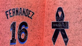 MIAMI, FL - SEPTEMBER 28: A detailed view of a memorial wall in honor of Jose Fernandez on September 28, 2016 in Miami, Florida. Mr. Fernandez was killed in a weekend boat crash in Miami Beach along with two friends.   Rob Foldy/Getty Images/AFP