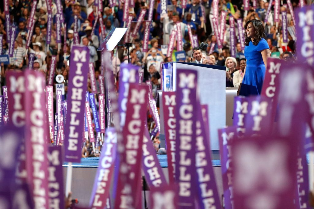 PHILADELPHIA, PA - JULY 25:  First lady Michelle Obama delivers remarks on the first day of the Democratic National Convention at the Wells Fargo Center, July 25, 2016 in Philadelphia, Pennsylvania. An estimated 50,000 people are expected in Philadelphia, including hundreds of protesters and members of the media. The four-day Democratic National Convention kicked off July 25.  (Photo by Aaron P. Bernstein/Getty Images)