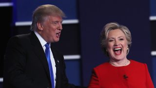 HEMPSTEAD, NY - SEPTEMBER 26:  (L-R) Republican presidential nominee Donald Trump and Democratic presidential nominee Hillary Clinton shake hands after the Presidential Debate at Hofstra University on September 26, 2016 in Hempstead, New York.  The first of four debates for the 2016 Election, three Presidential and one Vice Presidential, is moderated by NBC's Lester Holt.  (Photo by Spencer Platt/Getty Images)