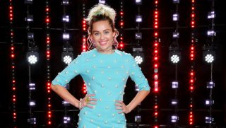 """THE VOICE -- """"Season 11 Press Junket"""" -- Pictured: Miley Cyrus  -- (Photo by: Trae Patton/NBC/NBCU Photo Bank via Getty Images)"""