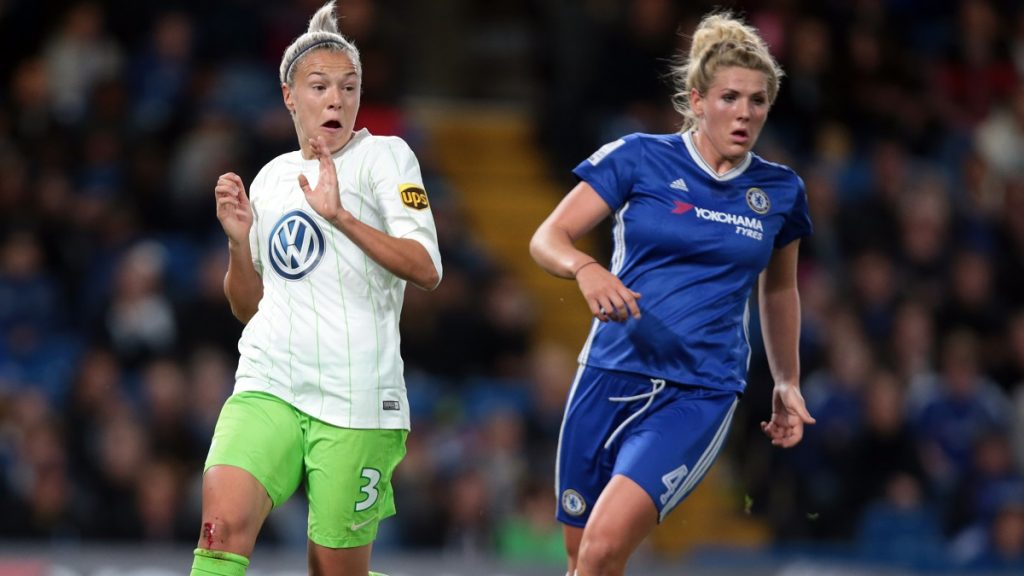 L-R Zsanett Jakabfi of Vfl Wolfsburg and Chelsea Ladies Millie Bright during UEFA Women Champion League Round of 32 match between Chelsea Ladies  and VFL Wolfsburg Ladies at Stamford Bridge on 5th October 2016 (Photo by Kieran Galvin/NurPhoto via Getty Images)