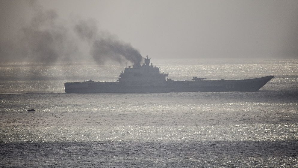DOVER, ENGLAND - OCTOBER 21:  The Russian aircraft carrier Admiral Kuznetsov passes through the English channel on October 21, 2016 near Dover, England. The Russian Navy's flotilla of warships is presumed to be heading to the eastern Mediterranean to support the Russian military's current deployment in Syria.  (Photo by Leon Neal/Getty Images)