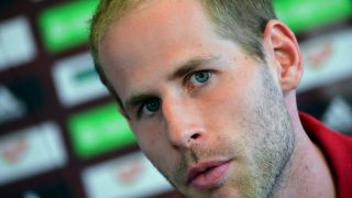 Hungary's goalkeeper Peter Gulacsi addresses a press conference at the Hungarian Football Federation training center in Telki village on May 19, 2016 on the eve of their pre-EURO 2016 friendly football match against Ivory Coast. / AFP PHOTO / ATTILA KISBENEDEK