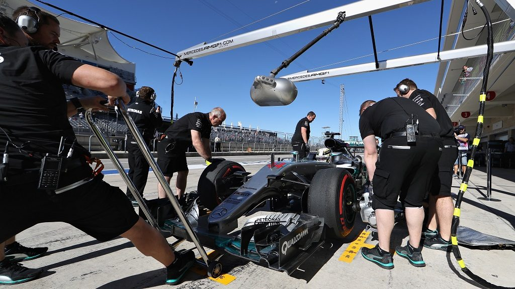 AUSTIN, TX - OCTOBER 21: Lewis Hamilton of Great Britain driving the (44) Mercedes AMG Petronas F1 Team Mercedes F1 WO7 Mercedes PU106C Hybrid turbo in the Pitlane during practice for the United States Formula One Grand Prix at Circuit of The Americas on October 21, 2016 in Austin, United States.   Mark Thompson/Getty Images/AFP
