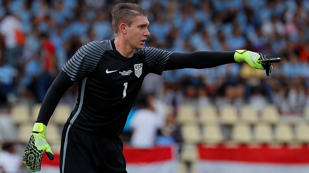 HAVANA, CUBA - OCTOBER 07:  Goalkeeper Ethan Horvath #1 of the United States converses with his team during the match against Cuba at Estadio Pedro Marrero on October 7, 2016 in Havana, Cuba.  (Photo by Kevin C. Cox/Getty Images)