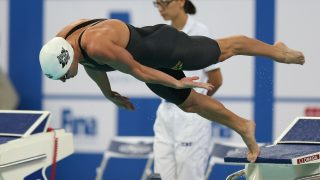 (160930) -- BEIJING, Sept. 30, 2016 (Xinhua) -- Katinka Hosszu of Hungary competes during the Women's 200m Freestyle of FINA swimming world cup 2016, in Beijing, capital of China, Sept. 30, 2016. Katinka Hosszu claimed the title with 1 minute and 53.89 seconds. (Xinhua/Cao Can)