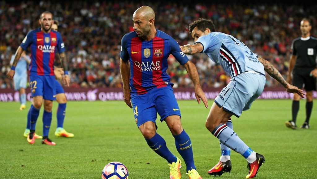 Javier Mascherano during the match corresponding to the Joan Gamper Trophy, played at the Camp Nou stadiium, on august 10, 2016.   (Photo by Urbanandsport/NurPhoto)