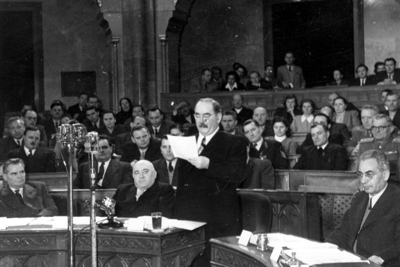 Hungarian politician, Imre Nagy (1895 - 1958) at a session of the Hungarian Parliament. Nagy was eventually executed by Janos Kadar.   (Photo by Keystone/Getty Images)