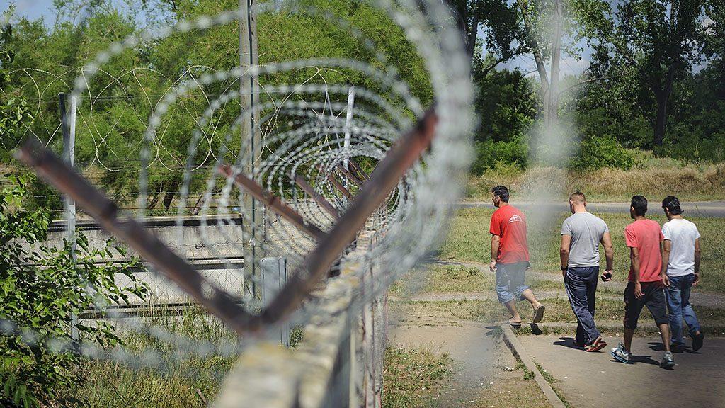Debrecen, 2015. július 1.Férfiak sétálnak a belváros irányába a Bevándorlási és Állampolgársági Hivatal debreceni befogadó állomásának kerítése mellett 2015. július 1-jén.MTI Fotó: Czeglédi Zsolt
