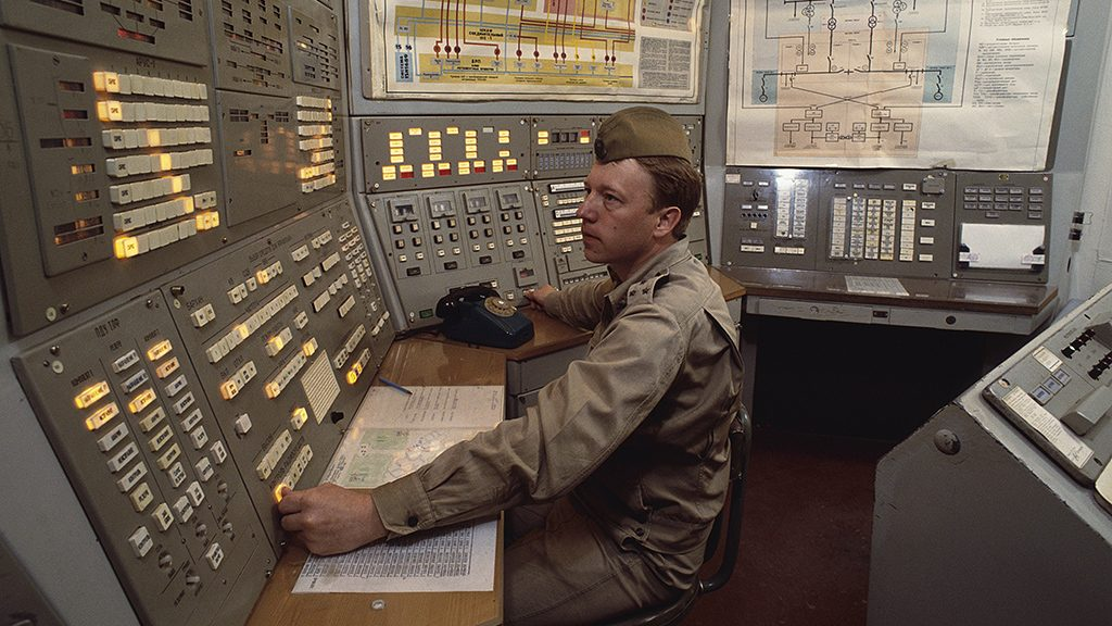 Control room at nuclear missile base, outside of Moscow. (Photo by robert wallis/Corbis via Getty Images)