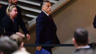 Hungarian Prime Minister Viktor Orban arrives to give a speech in 'Balna' cultural center in Budapest, on October 2, 2016. Hungarian Prime Minister Viktor Orban suffered a blow in his referendum against the EU's migrant quota plan after he failed to rally enough votes to reach the required 50 percent turnout, according to the first polls from the ruling Fidesz party. / AFP PHOTO / ATTILA KISBENEDEK