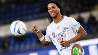 Brasilian forward Ronaldinho, prior the 'Match of Peace - United for Peace', charity soccer match promoted by the Schools for Encounter foundation, an organization boosted by Pope Francis, at Olimpico stadium in Rome, Italy, 12 October 2016.  (Photo by Massimo Valicchia/NurPhoto)