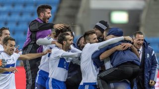 OSLO, NORWAY - OCTOBER 11:  Mattia Stefanelli of San Marino celebrate goal with team during the FIFA 2018 World Cup Qualifier between Norway and San Marino at Ullevaal Stadion on October 11, 2016 in Oslo, Norway. (Photo by Trond Tandberg/Getty Images)