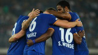 Mumbai City FC midfielder Krisztian Vadocz (2L) celebrates with teammates after scoring against  Delhi Dynamos FC  during the Indian Super League (ISL) football match between Delhi Dynamos FC and Mumbai City FC at The Jawaharlal Nehru Stadium in New Delhi on October 18, 2016. RESTRICTED TO EDITORIAL USE IMAGE STRICTLY FOR EDITORIAL USE - STRICTLY NO COMMERCIAL USE - / AFP PHOTO / SAJJAD HUSSAIN /  ----IMAGE RESTRICTED TO EDITORIAL USE- STRICTLY NO COMMERCIAL USE----