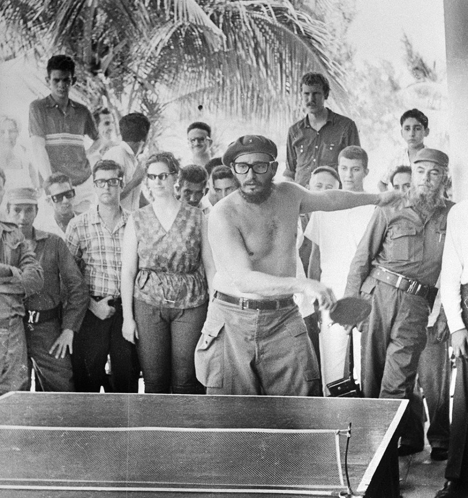 (Original Caption) Cuban leader Fidel Castro displays a mean backhand, and a bare midsection, as he plays a game of Ping-Pong with one of the American students who traveled to the Communist island without the permission of the State Department. This photo, taken by one of the students, John Salter, Greensboro, North Carolina, a former University of North Carolina student, was made available to UPI exclusively by the Daily Tar Heel, student newspaper of the University.