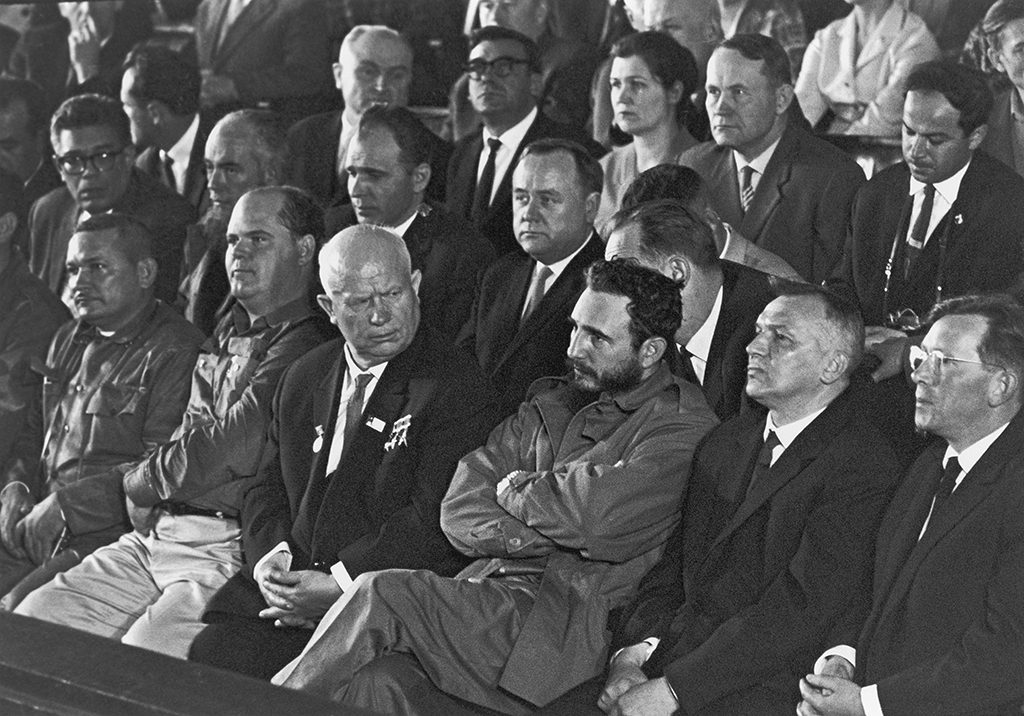 Nikita Khrushchev and Fidel Castro watching a sporting event. (Photo by Serge Plantureux/Corbis via Getty Images)