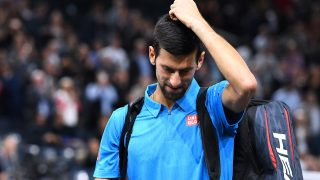 Serbia's Novak Djokovic leaves the court after losing his quarter-final tennis match against Croatia's Marin Cilic at the ATP World Tour Masters 1000 indoor tournament in Paris on November 4, 2016. / AFP PHOTO / FRANCK FIFE