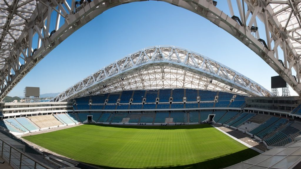 View dated on October 5, 2016 shows at the Fisht Stadium Stadium in Sochi during construction works ahead of the World Cup 2018 football tournament. The Olympic stadium, where the opening ceremony of the Sochi 2014, is transformed into a football stadium. / AFP PHOTO / Francois Xavier MARIT