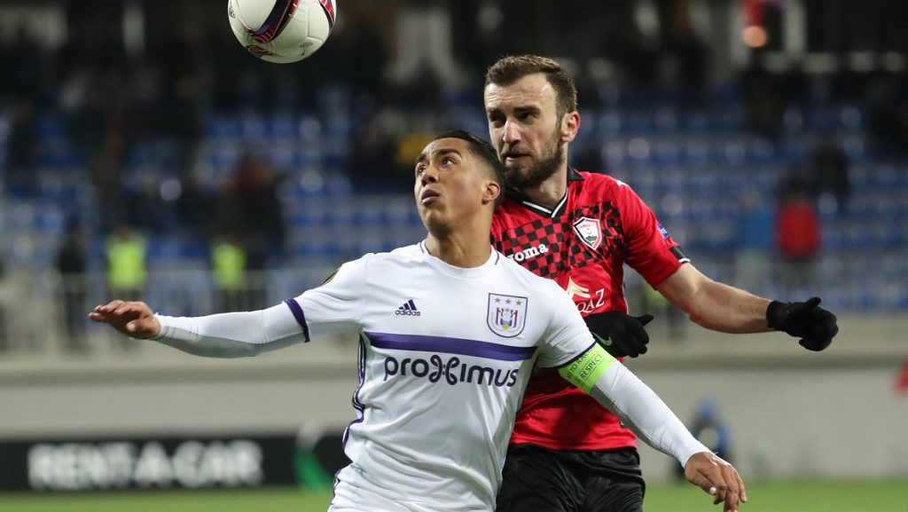 Anderlecht's Youri Tielemans and Gabala's Nika Kvekveskiri fight for the ball during a fifth game in the group stage (gruop C) of the Europa League competition between Azerbaijani team FK Qabala and Belgian team RSCA Anderlecht, Thursday 24 November 2016, in Baku, Azerbaijan. BELGA PHOTO VIRGINIE LEFOUR