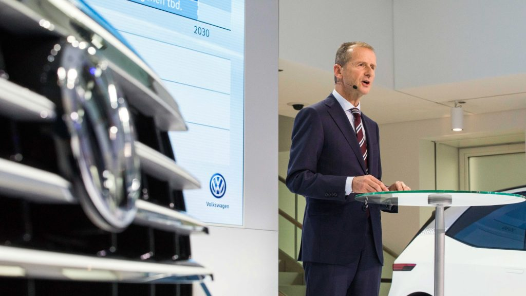 Volkswagen brand manager Herbert Diess speaking during the Transform 2025+ press conference in Wolfsburg, Germany, 22 November 2016. VWis presenting its plans for cutting jobs and the move to electro-mobility. Photo: Philipp von Ditfurth/dpa