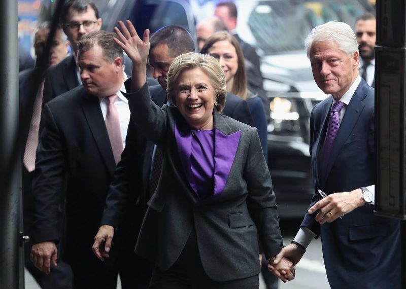 NEW YORK, NY - NOVEMBER 09: Hillary and Bill Clinton arrive to the New Yorker Hotel where she was to address supporters on November 9, 2016 in New York City. The former Democratic Presidential nominee conceded defeat to president-elect Donald Trump earlier in the morning.   John Moore/Getty Images/AFP