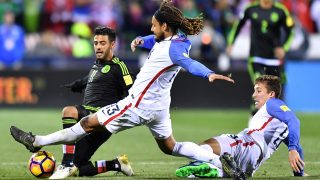 COLUMBUS, OH - NOVEMBER 11: Carlos Vela #11 of Mexico battles for the ball with Jermaine Jones #13 and Matt Besler #5 of the United States in the second half during the FIFA 2018 World Cup Qualifier at MAPFRE Stadium on November 11, 2016 in Columbus, Ohio.   Jamie Sabau/Getty Images/AFP