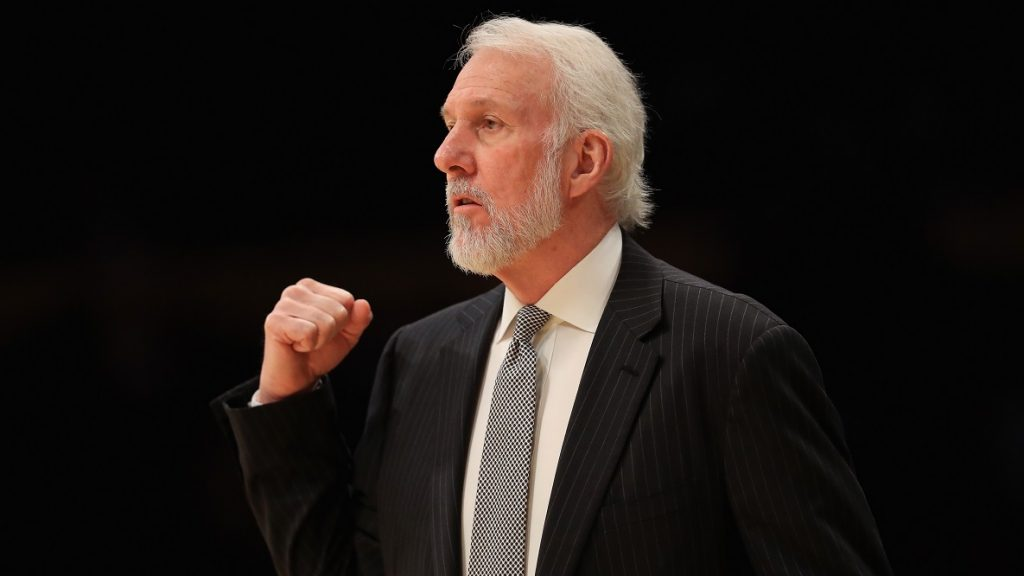 LOS ANGELES, CA - NOVEMBER 18: Head Coach Gregg Popovich of the San Antonio Spurs looks on during the first half of a game against the Los Angeles Lakers at Staples Center on November 18, 2016 in Los Angeles, California. NOTE TO USER: User expressly acknowledges and agrees that, by downloading and or using this photograph, User is consenting to the terms and conditions of the Getty Images License Agreement   Sean M. Haffey/Getty Images/AFP