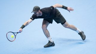 LONDON, ENGLAND - NOVEMBER 14: Andy Murray in action during his Men's Singles match against Marin Cilic (not seen) of Croatia within the Barclays ATP World Tour Finals at The O2 in London, England on November 14, 2016. 