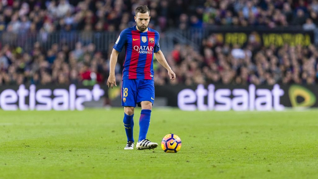 Jordi Alba during the match between FC Barcelona vs Malaga CF, for the round 12 of the Liga Santander, played at Camp Nou Stadium on 19th November 2016 in Barcelona, Spain.  -- (Photo by Urbanandsport/NurPhoto)