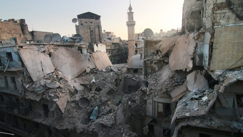 ALEPPO, SYRIA - OCTOBER 18: Destroyed buildings are seen after war crafts belonging to the Russian army carried out air strikes over opposition controlled town of Bustan Al-Qasr in Aleppo, Syria on October 18, 2016.   (Photo by Jawad al Rifai/Anadolu Agency/Getty Images)
