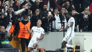 ISTANBUL, TURKEY - NOVEMBER 01: Ricardo Quaresma #7 and Vincent Aboubakar #9 of Besiktas celebrate after scoring a goal during the UEFA Champions League football match between Besiktas and Napoli at the Vodafone Arena in Istanbul, Turkey on November 1, 2016.  (Photo by Erhan Sevenler/Anadolu Agency/Getty Images)