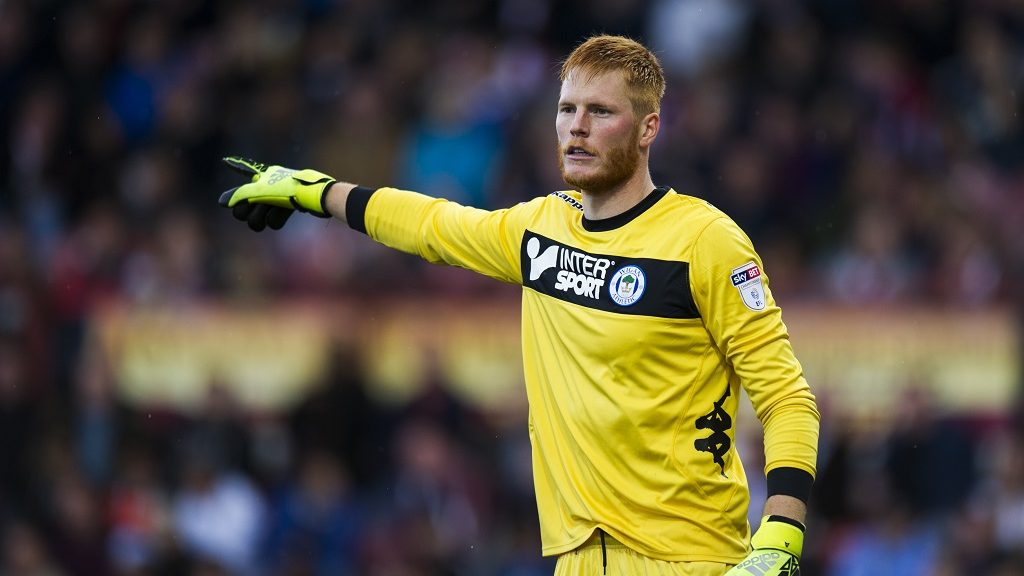 BRENTFORD, ENGLAND - OCTOBER 01:  Wigan Athletic's Adam Bogdan in action during todays match during the Sky Bet Championship match between Brentford and Wigan Athletic  at Griffin Park on October 1, 2016 in Brentford, England. (Photo by Ashley Western - CameraSport/CameraSport via Getty Images)