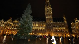 A picture taken on November 17, 2016 shows the Christmas tree at the Brussels Grand Place, at the start of the winter holiday season in Brussels.  / AFP PHOTO / Belga / NICOLAS MAETERLINCK / Belgium OUT