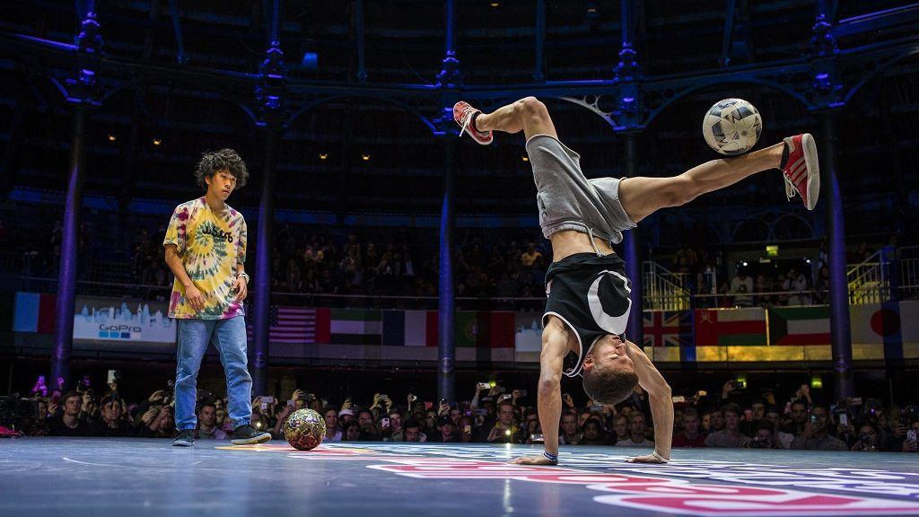 Carlos Alberto Iacono of Argentina competes during the finals of the freestyle football world championship Red Bull Street Style on November 06, 2016 in London, England.