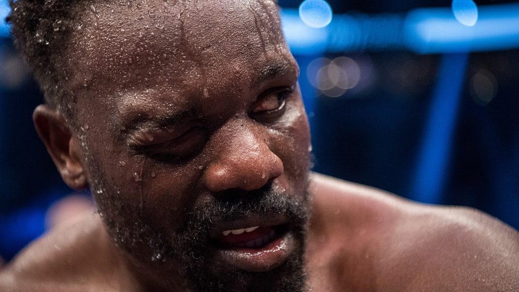 Dereck Chisora of Britain reacts after his defeat against Kubrat Pulev of Bulgaria after their European Heavyweight Championship boxing match in Hamburg, Germany, 07 May 2016. Photo:LUKASSCHULZE/dpa